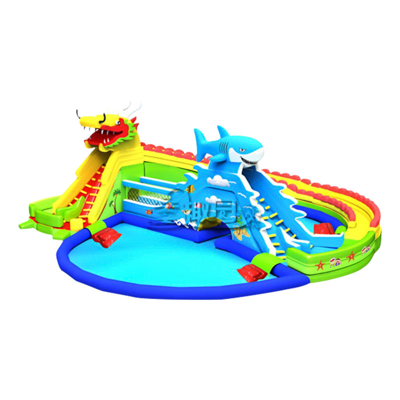 high quality summer huge water bouncy slide with inflatable pool for kids adults
