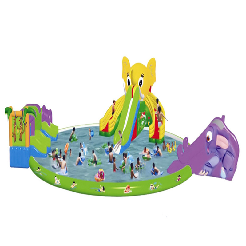 best selling inflatable water slides park with swimming pool for kids and adults