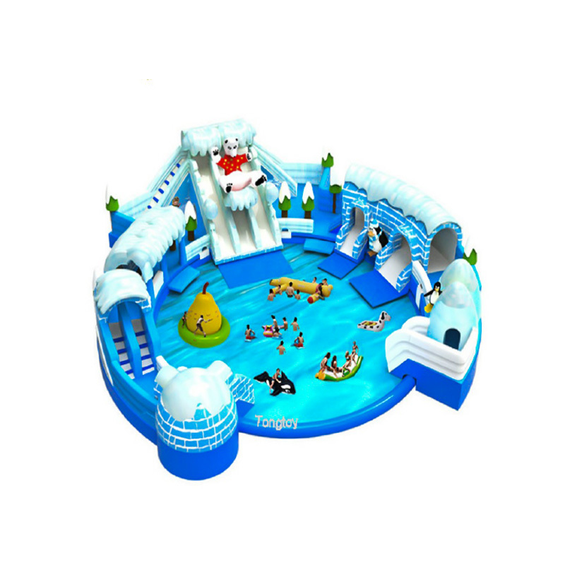 Factory customized ice and snow world inflatable water slide with big swim pool