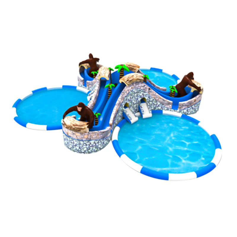 inflatable big water slides with swimming pool combo large climb slides