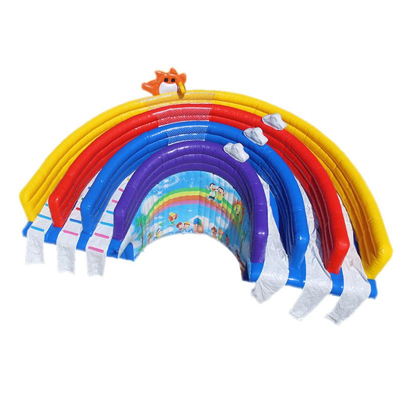 hot sale 3 lane rainbow inflatable water slide swimming pool slide