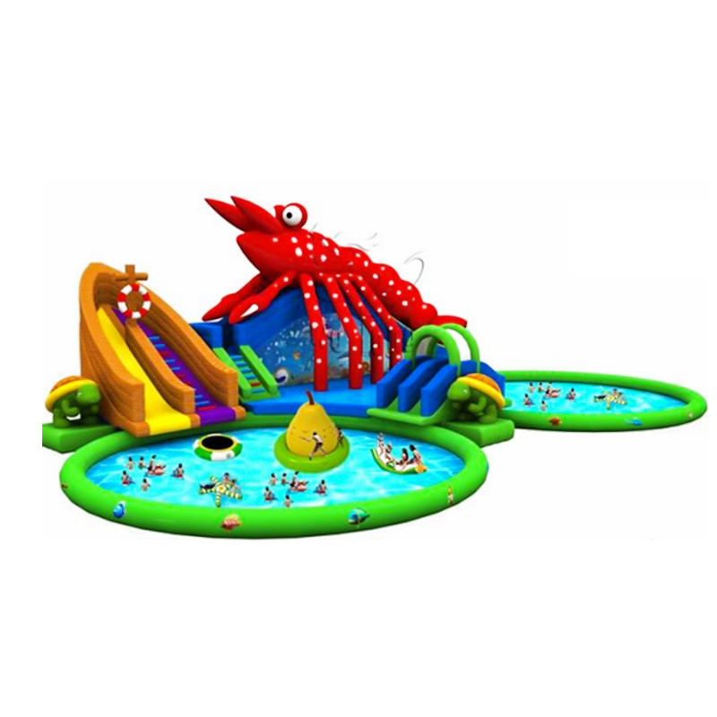 PVC wholesale lobster inflatable water slip and slides with round pools
