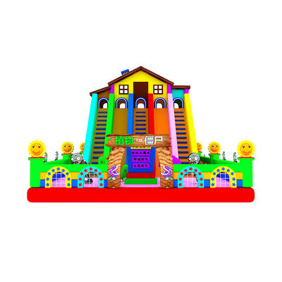 fun colorful inflatable jumping bouncy combo castle slide with clearance for kids