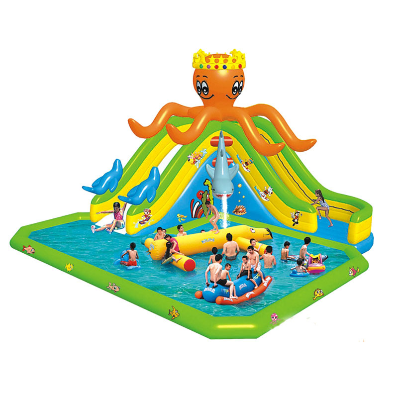commercial inflatable octopus water pool slide aqua park