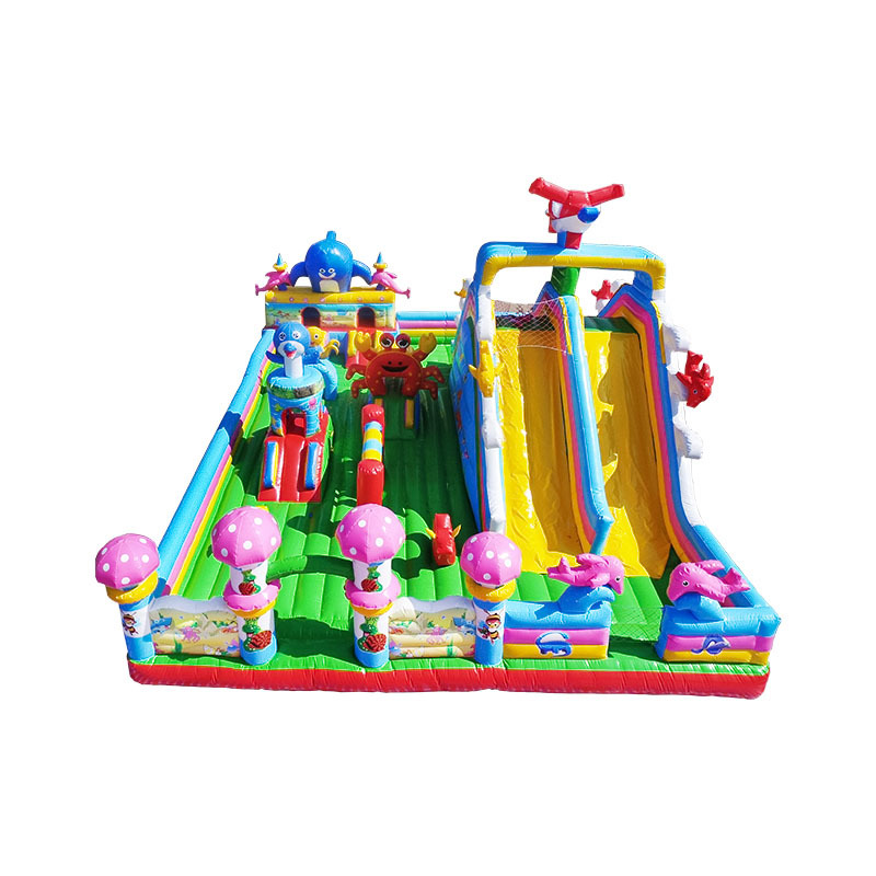 cheap durable inflatable bouncy climbing castle with dry slide for sale