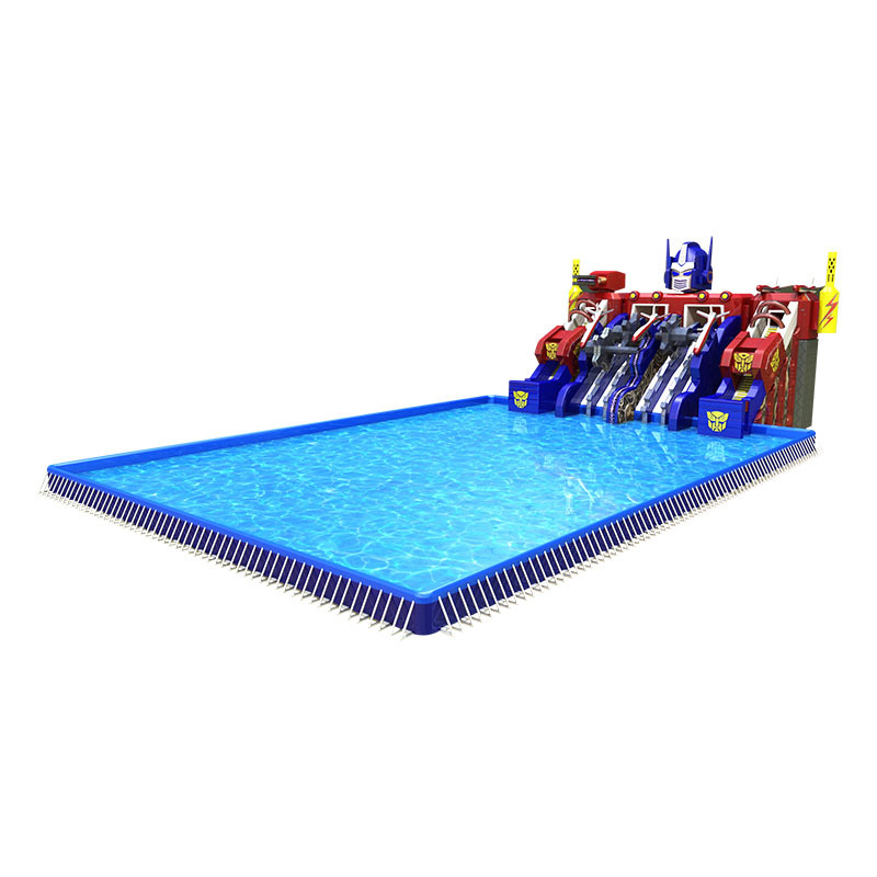 inflatable steel frame swimming pool with water slip and slides for kids adults