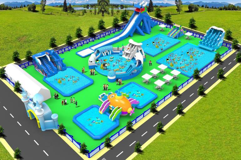 Inflatable water park play effect display