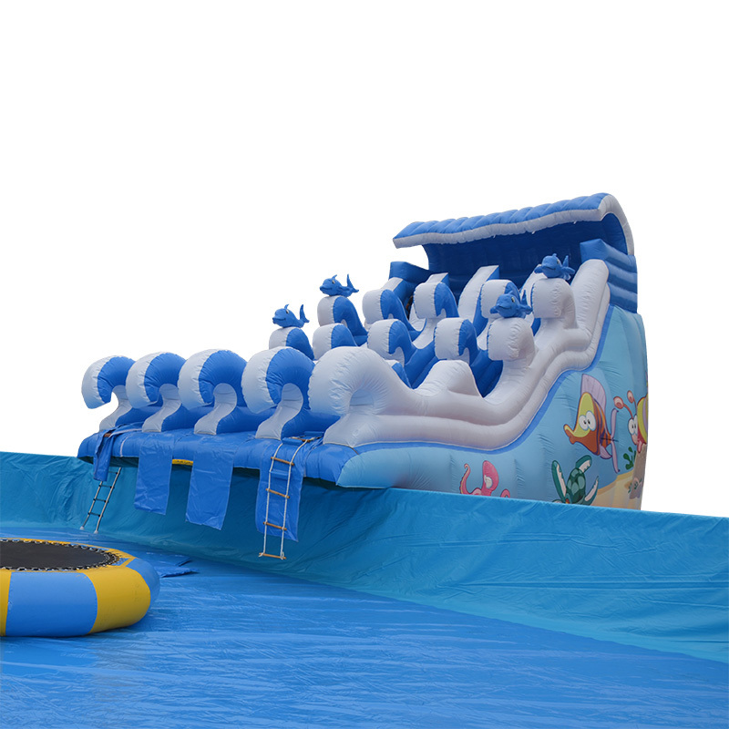 Hot selling inflatable shark wave water slide for kids