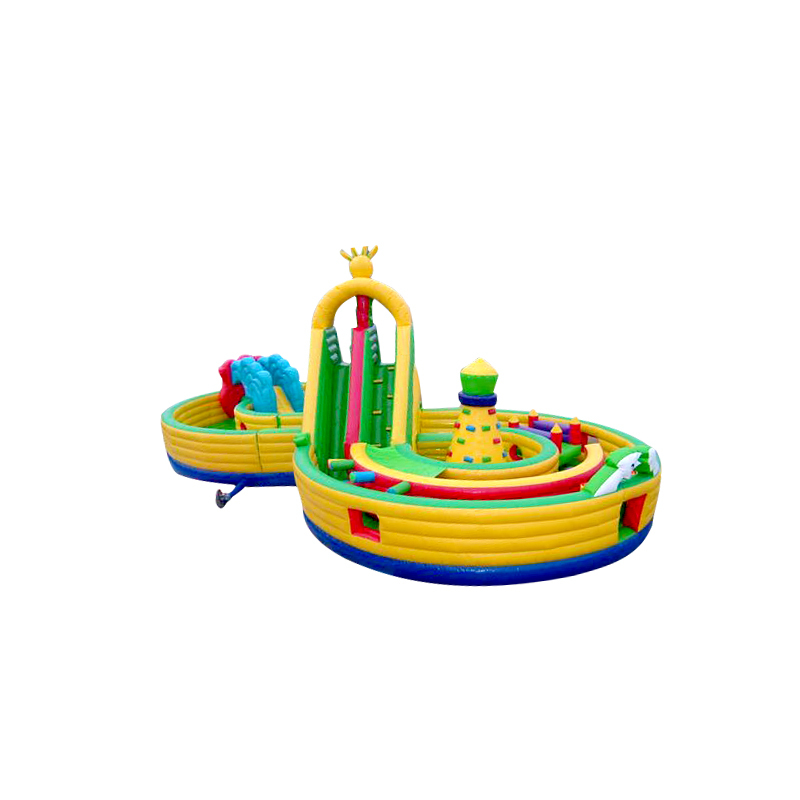 hot sale inflatable 8 shaped slide with obatacle toys for kids adults