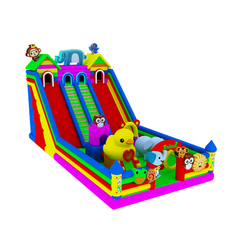 inflatable outdoor colorful bouncer castle with giant slide