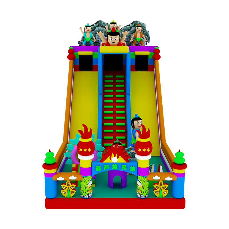 cartoon theme inflatable slide with climbing wall for sale