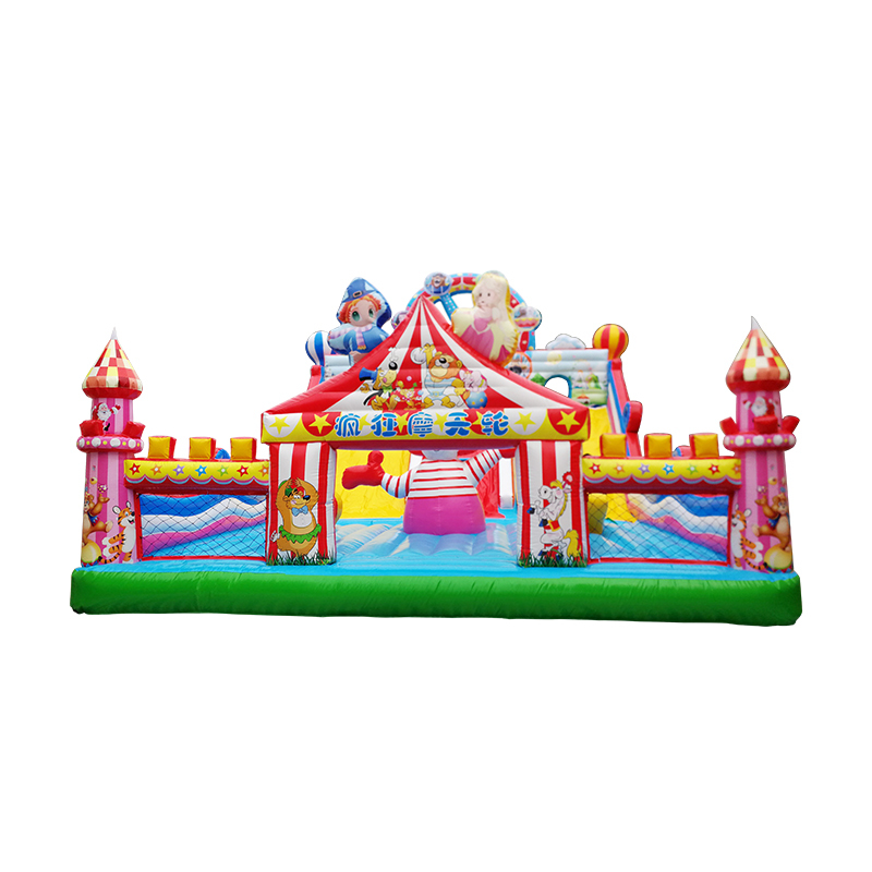 inflatable colorful jumping bouncy castle with climbing dry slides combo toys