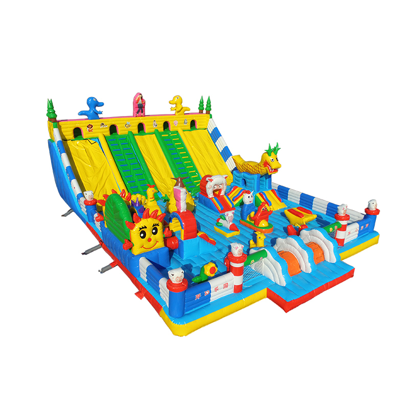 commercial cartoon theme combo slide jumping bounce house inflatable trampoline