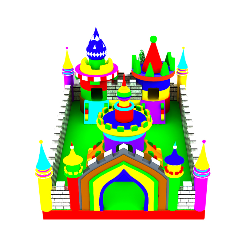 fun colorful inflatable jumping bouncy combo castle slide with clearance