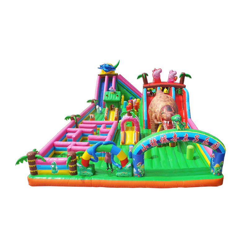 dinosaur park inflatable bouncer castle with giant mini slides and fun maze