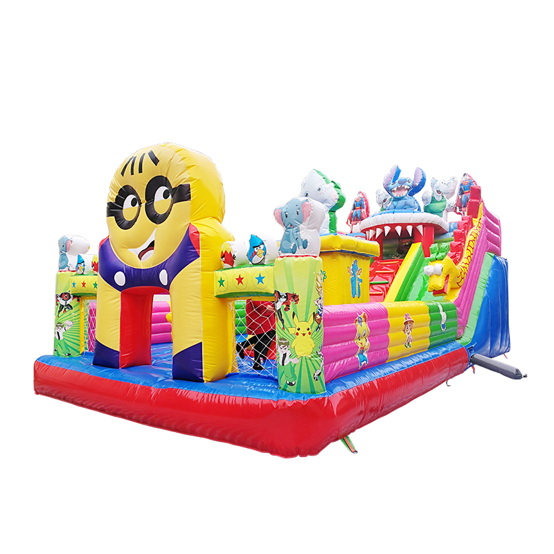 customized cartoon theme inflatable jumping bouncy castle with giant and mini slides
