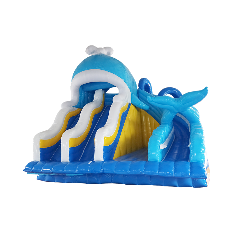 New design inflatable whale water slide for sale, inflatable whale slide