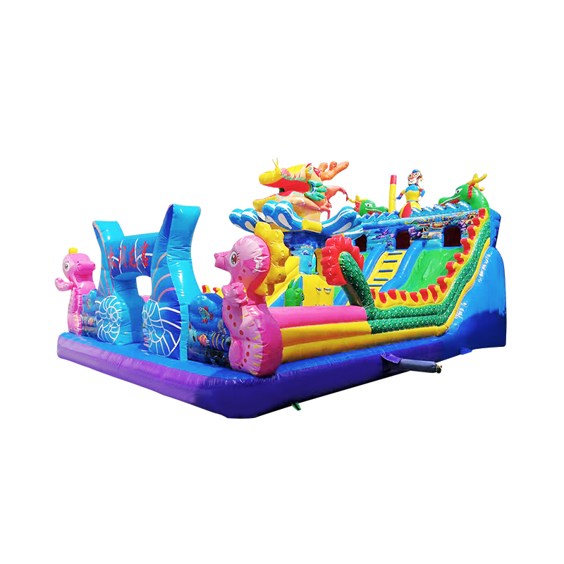 giant fun inflatable castle with combo giant and mini slides in inflatable bouncer house