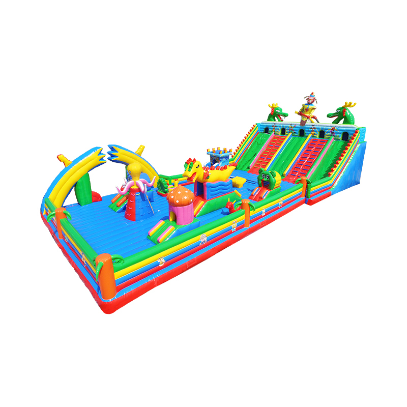 inflatable cartoon jumping bouncer with slide/ giant customized bouncy castle