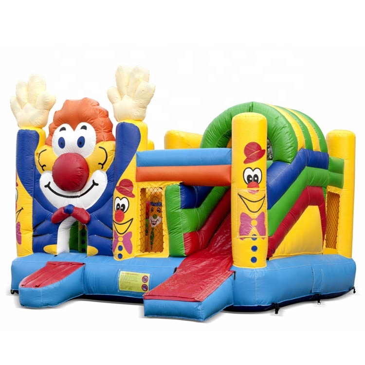 Funny Clown Kids Inflatable Bouncy Castle with Slide Jumping Amusement Park Equipment Inflatable Castle Bouncer