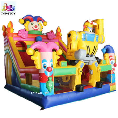 Funny Inflatable Circus Amusement Park Giant Inflatable Clown Playground For Kids