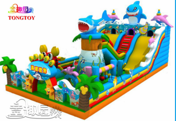 Inflatable Jumper Bouncer Jumping Bouncy Castle Bounce House With Double Water Slides