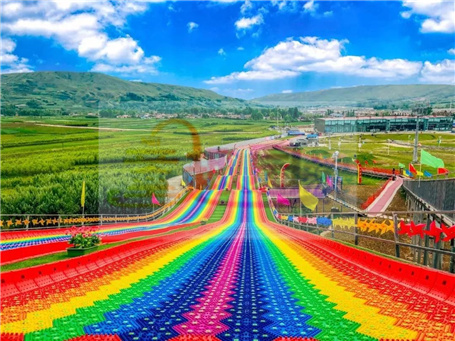 Outdoor colorful artificial dry slope skiing rainbow dry slide
